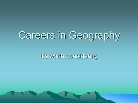 Careers in Geography It's worth considering. Human Geography Teacher ($25,000-$93,000) Researcher ($23,000-$80,000) Planner ($31,000-$77,000) Marketing.