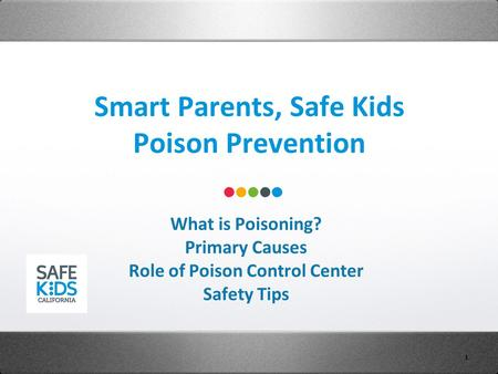 Smart Parents, Safe Kids Poison Prevention 1 What is Poisoning? Primary Causes Role of Poison Control Center Safety Tips.