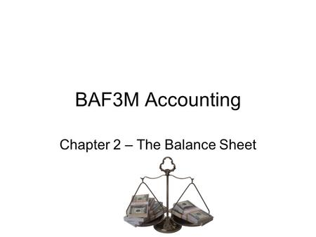 Chapter 2 – The Balance Sheet