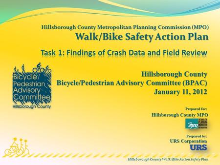 Hillsborough County Walk/Bike Action Safety Plan Hillsborough County MPO Prepared for: Prepared by: Hillsborough County Bicycle/Pedestrian Advisory Committee.