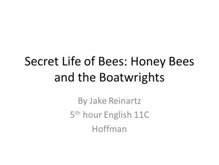 Secret Life of Bees: Honey Bees and the Boatwrights