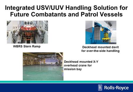 Integrated USV/UUV Handling Solution for Future Combatants and Patrol Vessels Deckhead mounted X-Y overhead crane for mission bay WBRS Stern Ramp Deckhead.