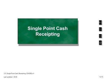 1 of 15 3.0: Single Point Cash Receipting / DA0382-w1 Last updated: 05-00 Single Point Cash Receipting.