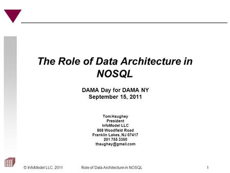© InfoModel LLC, 2011Role of Data Architecture in NOSQL 1 The Role of Data Architecture in NOSQL DAMA Day for DAMA NY September 15, 2011 Tom Haughey President.