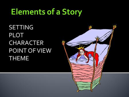 Elements of a Story SETTING PLOT CHARACTER POINT OF VIEW THEME.