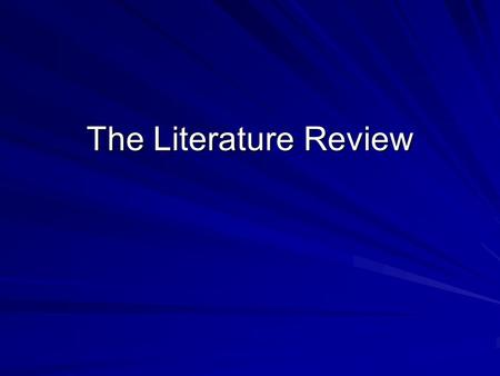 "The <strong>Literature</strong> <strong>Review</strong>. What is a <strong>Literature</strong> <strong>Review</strong>? According to Creswell (2005), a <strong>review</strong> <strong>of</strong> the <strong>literature</strong> ""is a written summary <strong>of</strong> journal articles,"