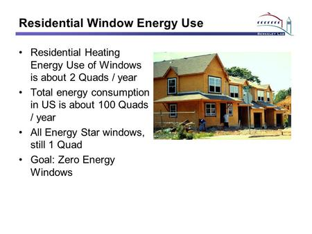 Residential Window Energy Use Residential Heating Energy Use of Windows is about 2 Quads / year Total energy consumption in US is about 100 Quads / year.