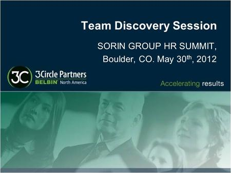 Team Discovery Session SORIN GROUP HR SUMMIT, Boulder, CO. May 30 th, 2012.
