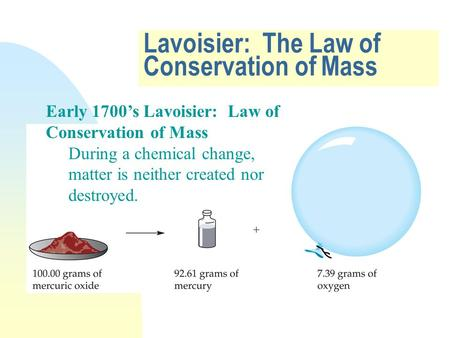 Lavoisier: The Law of Conservation of Mass Early 1700's Lavoisier: Law of Conservation of Mass During a chemical change, matter is neither created nor.