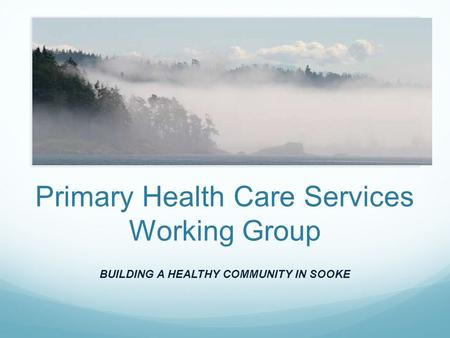 Primary Health Care Services Working Group BUILDING A HEALTHY COMMUNITY IN SOOKE.