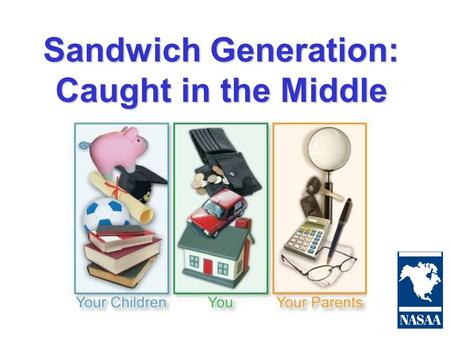 "Sandwich Generation: Caught in the Middle. What is the Sandwich Generation? Sandwich Generation (noun), also known as ""SandGEN"": Adults responsible for."