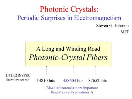 A Long and Winding Road Photonic-Crystal Fibers Photonic Crystals: Periodic Surprises in Electromagnetism Steven G. Johnson MIT 1/31/02 INSPEC literature.