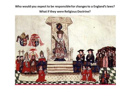 Who would you expect to be responsible for changes to a England's laws? What if they were Religious Doctrine?