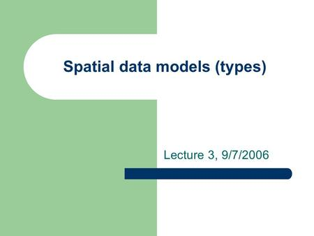 Spatial data models (types) Lecture 3, 9/7/2006. Two basic data models to represent these features Raster spatial data model – Define space as an array.