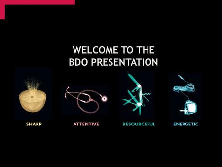 WELCOME TO THE BDO PRESENTATION. Who are we? Alex Lowden – Audit Trainee Adam Cook – Tax Trainee.