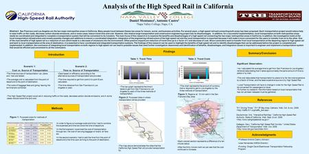 Analysis of the High Speed Rail in California Daniel Montanez 1, Antonio Castro 1 1 Napa Valley College, Napa, CA Abstract: San Francisco and Los Angeles.