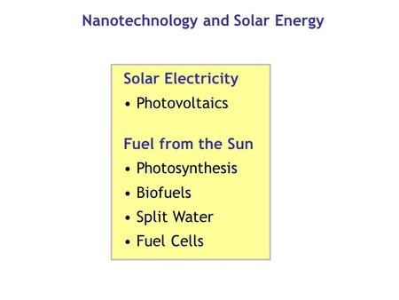 Nanotechnology and Solar Energy Solar Electricity Photovoltaics Fuel from the Sun Photosynthesis Biofuels Split Water Fuel Cells.
