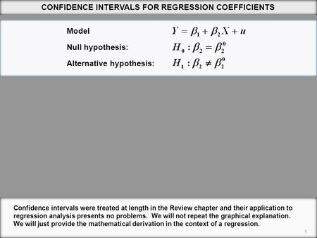 Confidence intervals were treated at length in the Review chapter and their application to regression analysis presents no problems. We will not repeat.