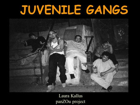 "JUVENILE GANGS Laura Kallus panZOu project What is a Gang? ""A formal or informal ongoing organization, association, or group that has as one of its primary."
