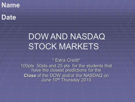 * Extra Credit* 100pts 50pts and 25 pts for the students that have the closest predictions for the Close of the DOW and/or the NASDAQ on June 10 th Thursday.