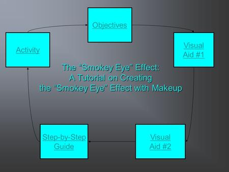 "The ""Smokey Eye"" Effect: A Tutorial on Creating the ""Smokey Eye"" Effect with Makeup Step-by-Step Guide Objectives Visual Aid #1 Activity Visual Aid #2."