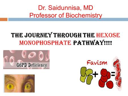 Dr. Saidunnisa, MD Professor of Biochemistry The Journey through the Hexose monophosphate Pathway!!!!