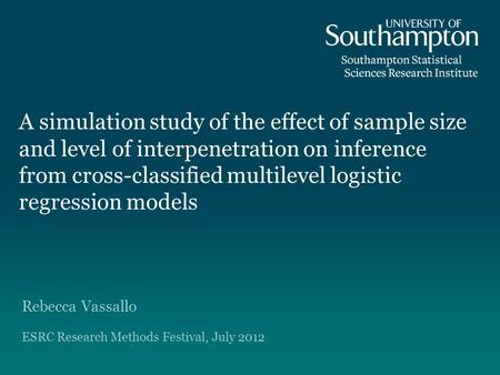 A simulation study of the effect of sample size and level of interpenetration on inference from cross-classified multilevel logistic regression models.