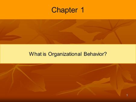 1 Chapter 1 What is Organizational Behavior?. 2 Learning Objectives Demonstrate the importance of interpersonal skills in the workplace. Describe the.