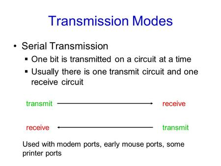 Transmission Modes Serial Transmission  One bit is transmitted on a circuit at a time  Usually there is one transmit circuit and one receive circuit.
