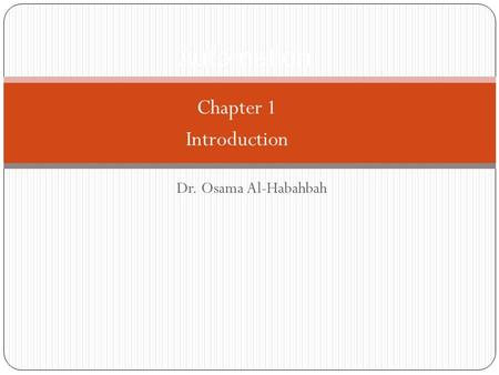 Dr. Osama Al-Habahbah Automation Chapter 1 Introduction.