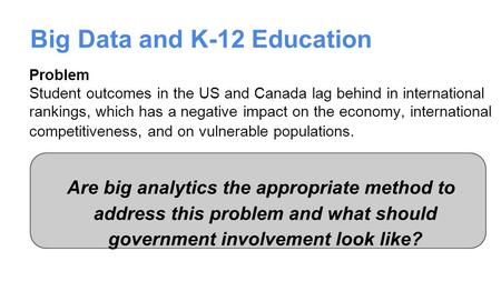 Big Data and K-12 Education Are big analytics the appropriate method to address this problem and what should government involvement look like? Problem.