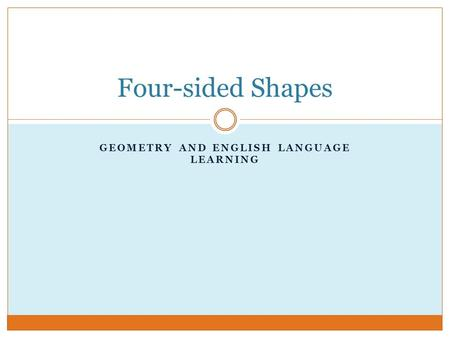 Geometry and English Language Learning