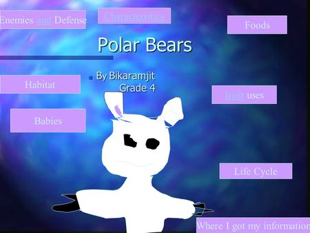 Polar Bears n B y Bikaramjit Grade 4 Inuit uses Where I got my information Life Cycle Characteristics Enemies and Defense Habitat Babies Foods.