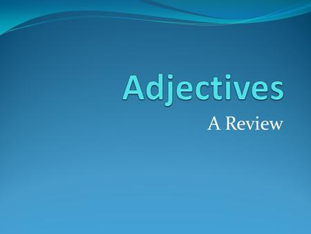 A Review. What is an adjective? An adjective describes a noun or pronoun. It usually comes before the noun or pronoun.