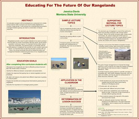Educating For The Future Of Our Rangelands Jessica Davis Montana State University EDUCATION GOALS After completing this curriculum students will: Recognize.
