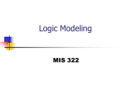 Logic Modeling MIS 322. Why do we need Logic Modeling? Lets look at the following DFD.