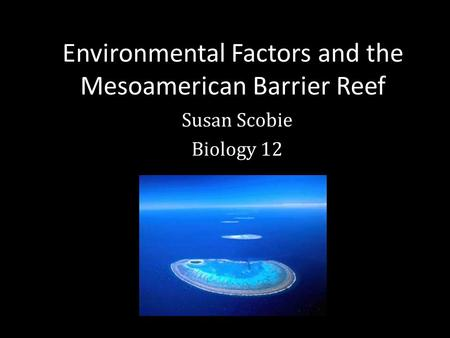 Environmental Factors and the Mesoamerican Barrier Reef Susan Scobie Biology 12.