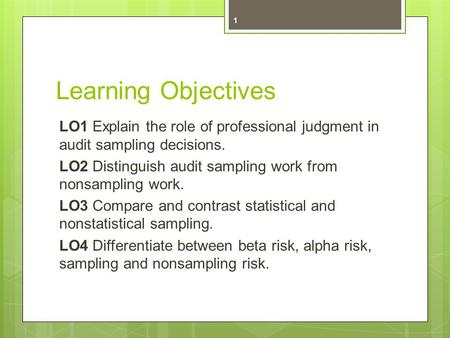 Learning Objectives LO1 Explain the role of professional judgment in audit sampling decisions. LO2 Distinguish audit sampling work from nonsampling work.