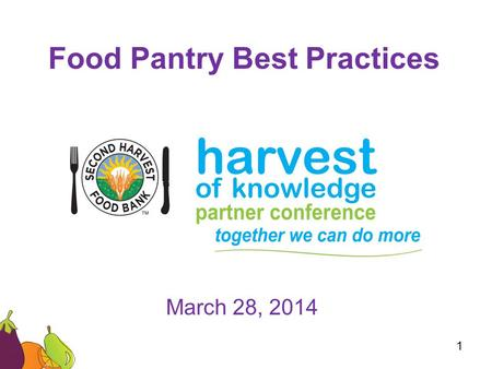 Food Pantry Best Practices March 28, 2014 1. –Back to Basics Online Ordering Scheduled Appointments Produce/SHFB Products –Monthly Reports –Clients and.