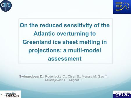 On the reduced sensitivity of the Atlantic overturning to Greenland ice sheet melting in projections: a multi-model assessment Swingedouw D., Rodehacke.