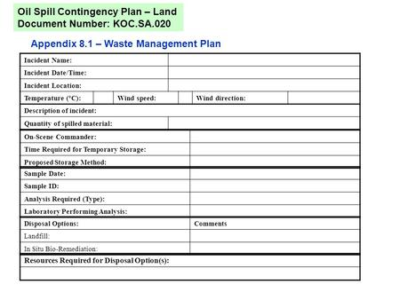 Appendix 8.1 – Waste Management Plan Oil Spill Contingency Plan – Land Document Number: KOC.SA.020 Incident Name: Incident Date/Time: Incident Location: