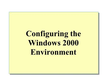 Configuring the Windows 2000 Environment. Overview Configuring and Managing Hardware Configuring Display Options Configuring System Settings Configuring.