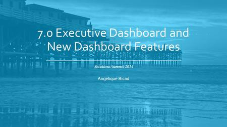 Solutions Summit 2014 7.0 Executive Dashboard and New Dashboard Features Angelique Bicad.