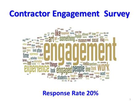 Contractor Engagement Survey 1 Response Rate 20%.