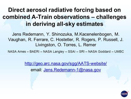 Direct aerosol radiative forcing based on combined A-Train observations – challenges in deriving all-sky estimates Jens Redemann, Y. Shinozuka, M.Kacenelenbogen,