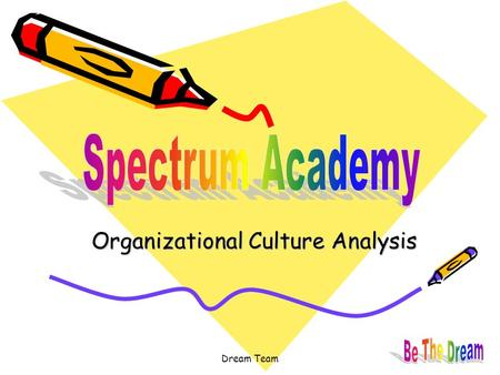 Dream Team Organizational Culture Analysis. Dream Team Vision & Mission Revisited Organizational Culture Overview Spectrum Academy Org Chart RTC Culture.