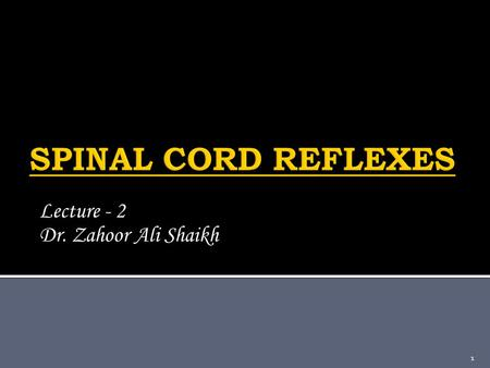 Lecture - 2 Dr. Zahoor Ali Shaikh 1.  What is Reflex? -- It is a response that occurs automatically without conscious effort. 2.