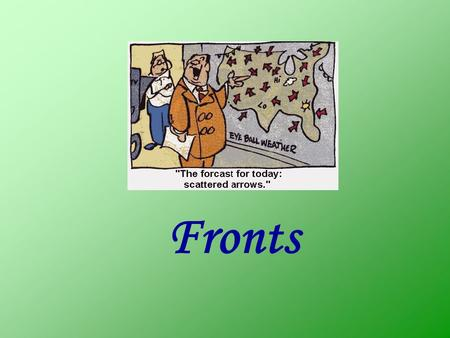 Fronts. Definition (Glossary of Meteorology) Front: …generally the interface or transition zone between two air masses of different density Air Mass: