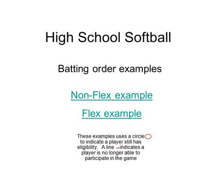 High School Softball Batting order examples Non-Flex example Flex example These examples uses a circle to indicate a player still has eligibility. A line.