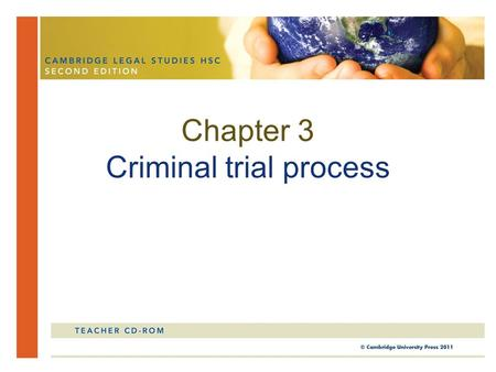 Chapter 3 Criminal trial process. In this chapter, you will study the process of a criminal trial. You will look at the criminal jurisdiction of NSW courts,